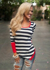 Fashion Neck Top Casual Striped Crew Long Sleeve Blouse Hot Women T-Shirt Sexy