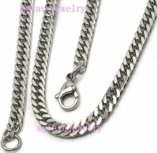 BOYS MENS 3.2mm 4mm 316L Stainless Steel Cuban Curb Necklace Chain Double Link