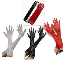 Length Women Opear/ Black White Red Sexy Stretch Lace Gloves - BF4U Long