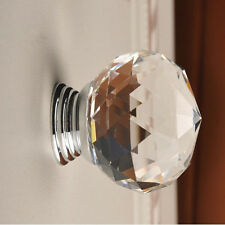 30mm Round Crystal Glass Cabinet Drawer Wardrobe Door Pull Handle Knobs AA6