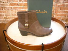 Clarks Grey Leather Ingalls Dover Buckle Ankle Boots NEW