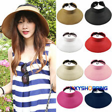 Womens Summer Wide Brim Roll Up Foldable Beach Holiday Straw Visor Sun Hat Cap