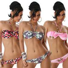 Sexy Halter Neck Bandeau Bikini Swimwear Swimsuit New Flowers Circle