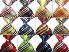 New 12 Colors Stripe Plaid 100% Silk Elegant WOVEN JACQUARD Men's Tie Necktie