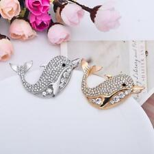 Animal Clear Crystals Rhinestone Dolphin Pin Brooch Cute Kid Brooch Silver/Gold