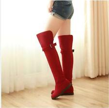 Hot New Women's Faux Suede Over The Knee High Hidden Heel Casual Boots Shoes