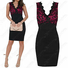 LADIES BLACK PINK FLORAL LACE DRESS WOMENS BODYCON V-NECK SLEEVELESS CROCHET TOP