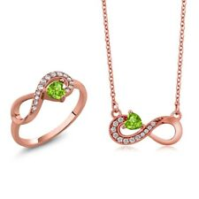 0.81 Ct Heart Shape Green Peridot 18K Rose Gold Plated Silver Ring Pendant Set