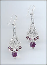 Sparkling Silver Earrings made with Swarovski AMETHYST PURPLE Crystals