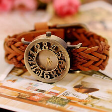 Womens Lady Retro Vintage Knitted Band PU Leather Analog Quartz Wrist Watch