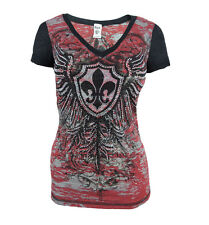 New Vocal Women V-Neck Shirt Crystal Fleur De Lis Wings in Red Burnout Wash