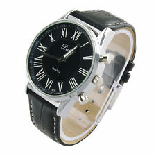 NEW DESIGNER WRIST BLACK LEATHER WATCH FASHION STYLE MEN WOMEN CHRISTMAS GIFT