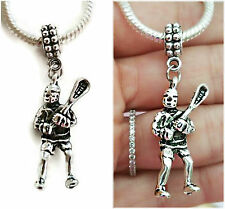 Lacrosse stick and Player double sided Charm Pendant for Bracelets necklace