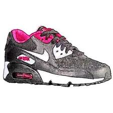 Nike Air Max 90 - Girls' Primary School Running Shoes (Black/White/Vivid Pink)