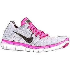 Nike Free Run Flyknit - Girls' Primary Sch. Running Shoes (WT/BK/PK Pow/Wolf GY)