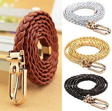 PU Leather Waistband Vivid Braided Waist Belt Womens Narrow Thin Buckle Strap
