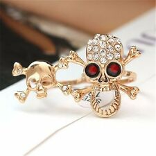 New Faddish Typical Gothic/Punk Gold/Silver Crystal Skull Two Finger Double Ring