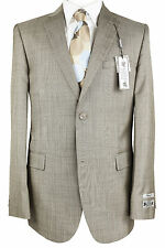Paolo Giardini Mens Slim Fit Suit Two Button 2 Vent Flat Front 64204 Tan Stripe