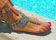Silver Foot ankle chain Boho anklet, beach destination wedding barefoot sandals