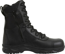 Tactical Boots Black Military Side Zipper Forced Entry Composite Toe 8""