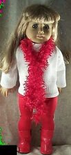"""Doll Clothes fit American Girl 18"""" inch 3 Pc Set Leggings Tunic Scarf Red NEW"""