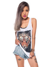 Women's Crew Neck Sleeveless Graphic Print Tiger Tank Top T Shirt Beachwear