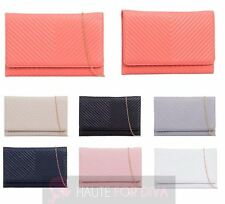 WOMEN'S NEW FAUX LEATHER QUILTED DETACHABLE SHOULDER CHAIN EVENING CLUTCH BAG