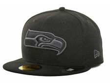 Official Seattle Seahawks New Era NFL Black Gray Basic 59FIFTY Hat Fitted Cap