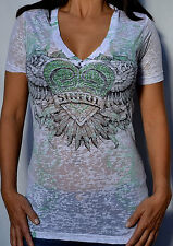 Sinful by Affliction YORK  Woman's V-Neck T-Shirt w/ Rhinestones - S2151 - White