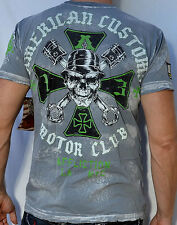 Affliction American Customs ACMC IRON Men's T-Shirt - NEW - A4468 - Charcoal
