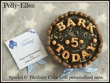 "6"" Special Dog Birthday cake~Chocolate topping, gift box & note included - Blue"