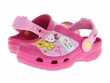 "Crocs Girls Pink ""Hello Kitty"" Airplane Clogs Sandals Size 10-11 12-13"