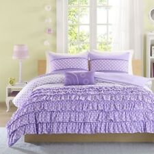 NEW Twin XL Full Queen Bed Purple White Polka Dot Ruffles 4 pc Comforter Set NWT