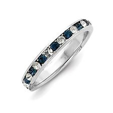 Sterling Silver Blue CZ Eternity Wedding Band Ring Size 6 to 8
