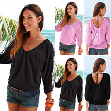 Womens Sexy V Neck Lace Long Sleeve Pleated Blouse Ladies Tee T Shirt Casual Top