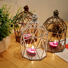 Vintage Tea Light Candle Holder Hollow Bird Cage Candlestick Wedding Decor Gifts
