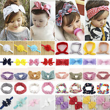 Baby Toddler Girls Kid Rabbit Bow Knot Flower Turban Headband Hair Band Headwrap