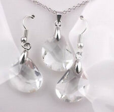 Womens Hot Jewelry Set Gold Plated Crystal White Necklace Earrings New Shiny