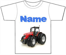 PERSONALISED RED TRACTOR T-SHIRT PRINTED WITH ANY CHILDS NAME BOY GIRL