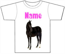 PERSONALISED BLACK HORSE T-SHIRT PRINTED WITH ANY CHILDS NAME GIRLS/BOYS