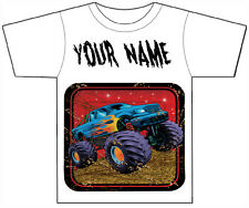 PERSONALISED MONSTER TRUCK T-SHIRT PRINTED WITH ANY CHILDS NAME GIRLS / BOYS