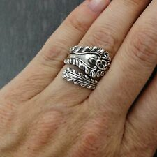 Victorian Spoon Handle Ring - 925 Sterling Silver Sizes 6-10 Utensil Spoons