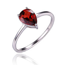 1.4ct Natural Garnet Solitaire Ring Solid 925 Sterling Silver Pear For Women