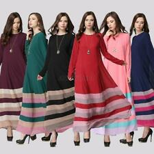 Muslim Women Kaftan Islamic Dress Long Sleeve Arab Jilbab Abaya Loose Maxi Dress