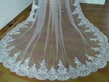 Cathedral 1T White Ivory wedding Bridal Veil Lace Edge+comb New 3M