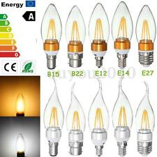 E27 E14 E12 B22 2W/4W Edison Filament COB LED Chandelier Candle Light Bulb Lamp