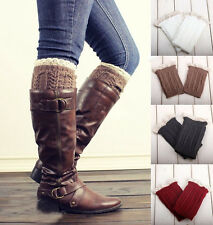 HOT 1Pair Lady's Crochet Knitted Lace Trim Boot Cuffs Toppers Leg Warmers Socks