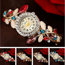 Flower Women's Watch Rhinestone Quartz Bangle Silver Plated Bracelet
