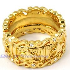 8#,9# LILY CARVED BAND RING 11mm8g 18K YELLOW GOLD PLATED SOLID FILL GP GEP f14