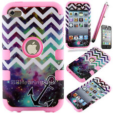 DELUXE BLACK 3PIECE HARD/SKIN CASE COVER FOR IPOD TOUCH 4 4G 4TH GEN+PROTECTOR